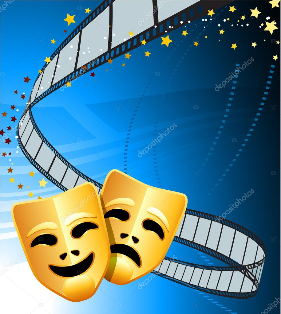 Comedy and tragedy theater masks background — Stock Vector ...