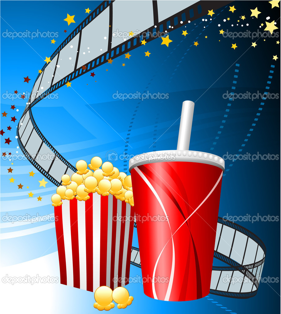 Popcorn Wallpaper: Popcorn And Cup Of Soda On Film Background