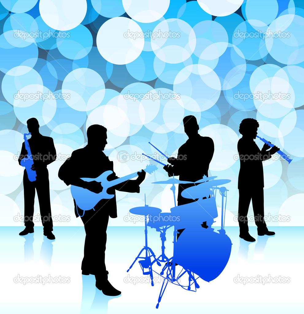 Live music band on lens flare internet background stock illustration