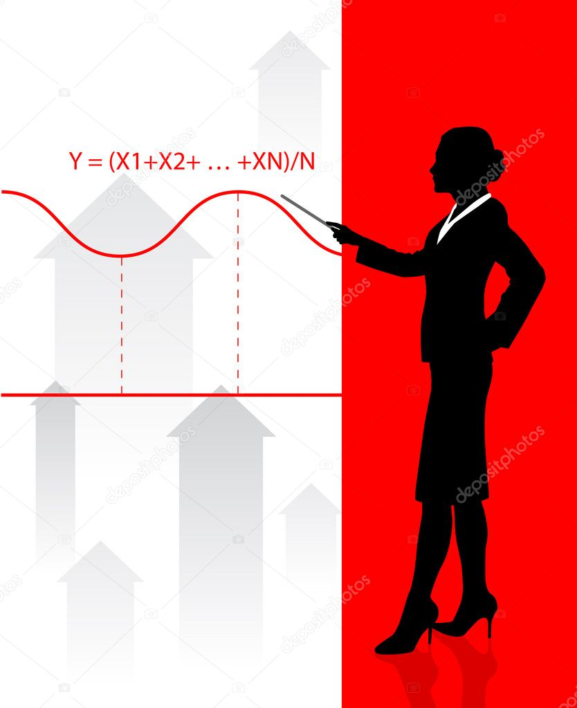 Business woman on background with financial equation  Stock Vector #6087878