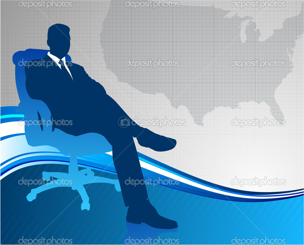 Business Executive On Us Map Background Stock Ilration