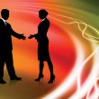 Business Couple on Abstract liquid Background — Imagen vectorial