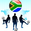 South Africa Flag Icon on Internet Button with Soccer Team — Stock Vector