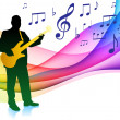 Guitar Player on Musical Note Color SpectrumOriginal Vector Illu — Stock Vector