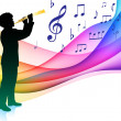Flute Player on Musical Note Color SpectrumOriginal Vector Illus - Stock Vector