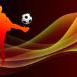 Soccer Player on Abstract Orange Background — Grafika wektorowa