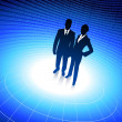 Business team silhouettes on corporate background with binary co - Stock Vector