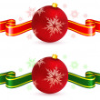 Red ornament decoration with ribbon — Stock Vector