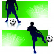 Royalty-Free Stock Vector Image: Soccer Player Set with Green Frame