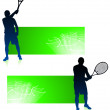 Royalty-Free Stock Vector Image: Tennis Player with Green Banners
