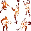 Basketball Players Collection — Stock Vector