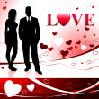 Young Couple on Love Background — Stock Vector