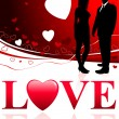 Young Couple on Abstract Love Background — Stockvectorbeeld