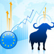 Bull Market with European Union Button — Stock Vector