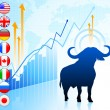 Bull Market with Internet Flag Buttons — Stock Vector