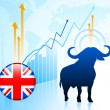 Bull Market on British Internet Button — Stock Vector