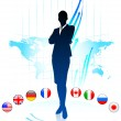Businesswoman Leader on World Map with Flags — Stock Vector