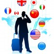 Businessman Traveler with Sworld map and Internet Flag Buttons — Stock Vector #6506248