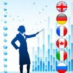 Businessman Presenting World Chart — Stock Vector