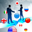 Business Couple on world map background with internet flag butto — Stock Vector