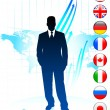 Stock Vector: Businessman Leader on World Map with Flags