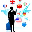 Businesswoman traveler with Internet Flag Buttons — Stock Vector