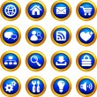 Internet icon set on  buttons with golden borders - Stock Vector