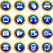 Stock Vector: Technology and communication icons on buttons with golden borde