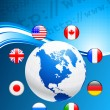 Royalty-Free Stock Vector Image: Globe with Internet Flag Buttons Background