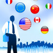 Royalty-Free Stock Vector: Businessman Traveler with Skyline and Internet Flag Buttons