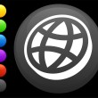 Flat globe icon on round internet button — Stockvectorbeeld