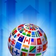 Flags Globe on Blue Arrow Background - Stock Vector