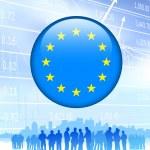 与欧洲联盟的业务团队标志互联网按钮 — 图库矢量图片