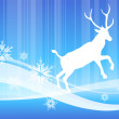 Deer on abstract winter background - Stock Vector