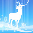 Deer on abstract winter background — Stock Vector