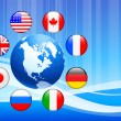 Globe with Internet Flag Buttons Background — Stock Vector