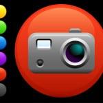 Digital camera icon on round internet button — Stock Vector #6506674
