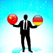 Businessman Holding china and germany Internet Flag Buttons — Stock Vector