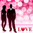Young Couple with Lens Flare Love Background — Stock Vector