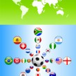Soccer poster with Flag Buttons — Stock Vector