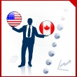 Businessman Holding United States and canada Internet Flag Butto — Stock Vector