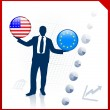 Royalty-Free Stock Vector Image: Businessman Holding United States and european union Internet Fl