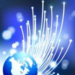 glober på fiber optic internet bakgrund — Stockvektor