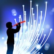 Royalty-Free Stock Vector Image: Young clarinet player on fiber optic background