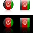 Постер, плакат: Afghanistan Flag Buttons on White and Black Background