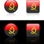 Angola Fahne Schaltflächen auf schwarzen und weißen Hintergrund — Stockvektor