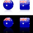 Australian Flag Buttons on White and Black Background — Stock Vector