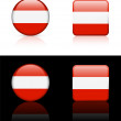 Austria Flag Buttons on White and Black Background — Imagen vectorial