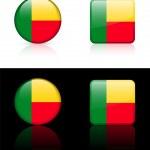 Постер, плакат: Benin Flag Buttons on White and Black Background