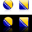 Bosnia Flag Buttons on White and Black Background — Imagen vectorial